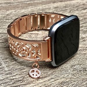 Rose Gold CZ Charm Band for Fitbit Versa